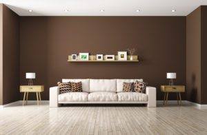 Modern interior of living room with beige sofa shelf side tables 3d rendering